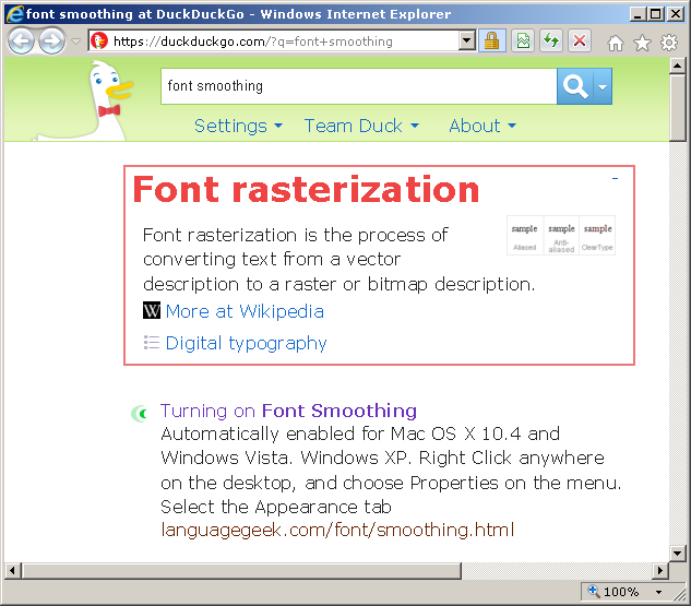 A screenshot of Internet Explorer 9 with a more classic font rendering