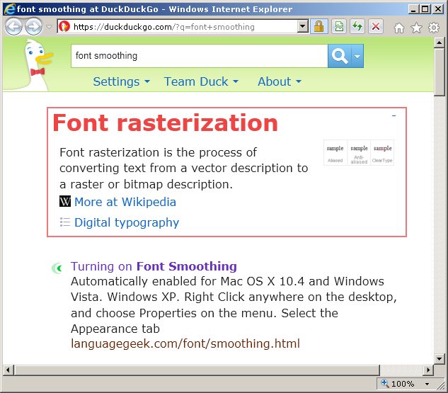 A screenshot of Internet Explorer 9 with its default font rendering
